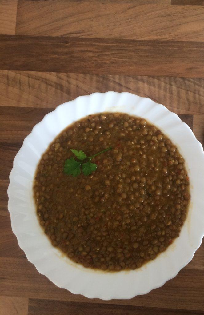 Lentejas con calabacín al curry