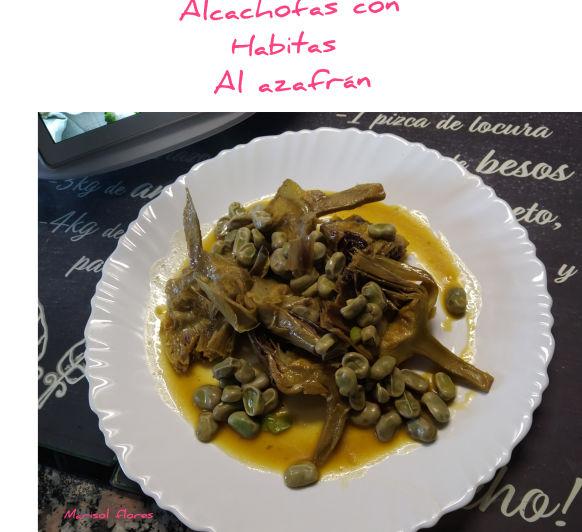 Alcachofas con habitas al azafrán.thermomix.Badajoz.
