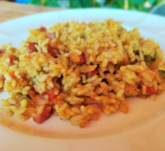 Arroz con sofrito de verduras y jamón. Thermomix® Badajoz