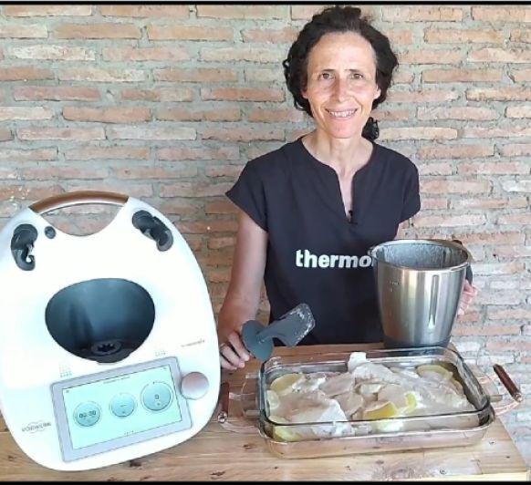 Pescado con salsa de champiñones. Thermomix® Badajoz
