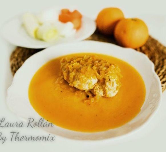 Pechugas de pollo en escabeche de naranja con Thermomix®
