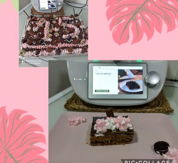 Tarta de galletas, crema pastelera, dulce de leche y chocolate. Thermomix® zafra